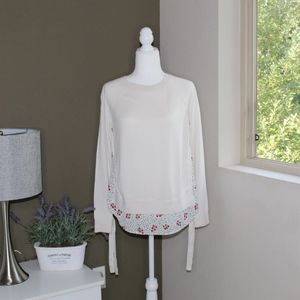 LOFT White & Floral Mixed Sweater w/Tie Sleeves